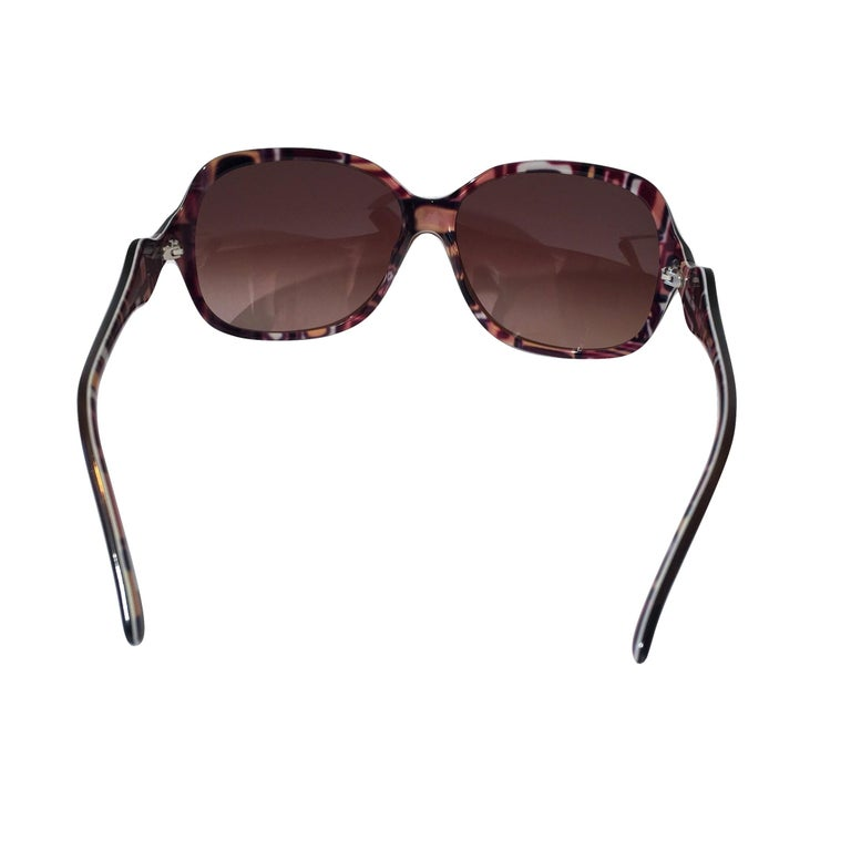 New Emilio Pucci Brown Logo Sunglasses With Case & Box For Sale 3