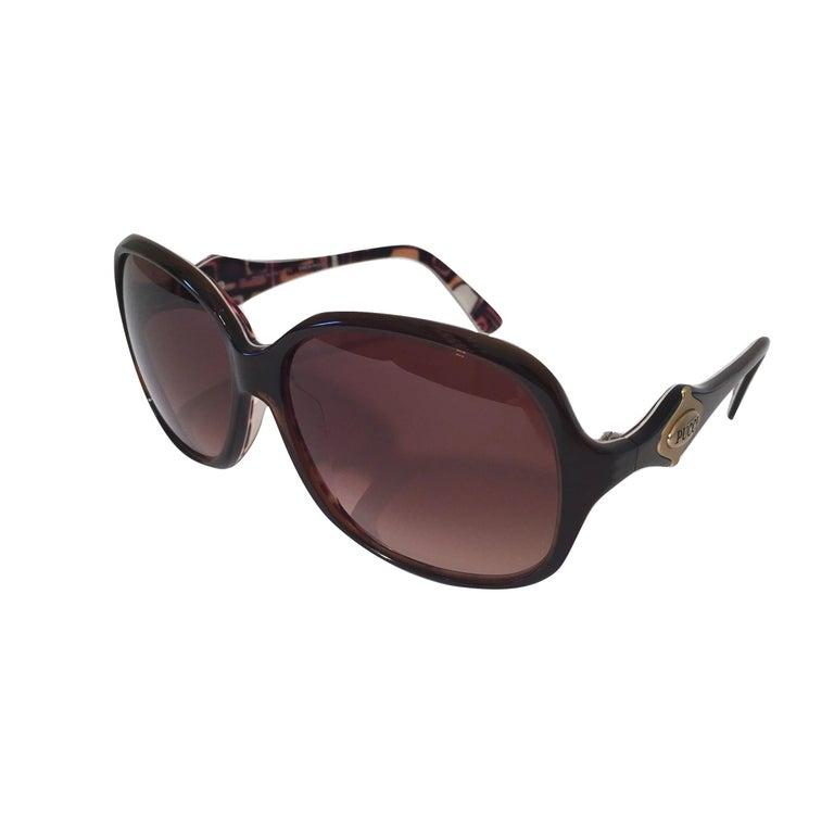 Gray New Emilio Pucci Brown Logo Sunglasses With Case & Box For Sale