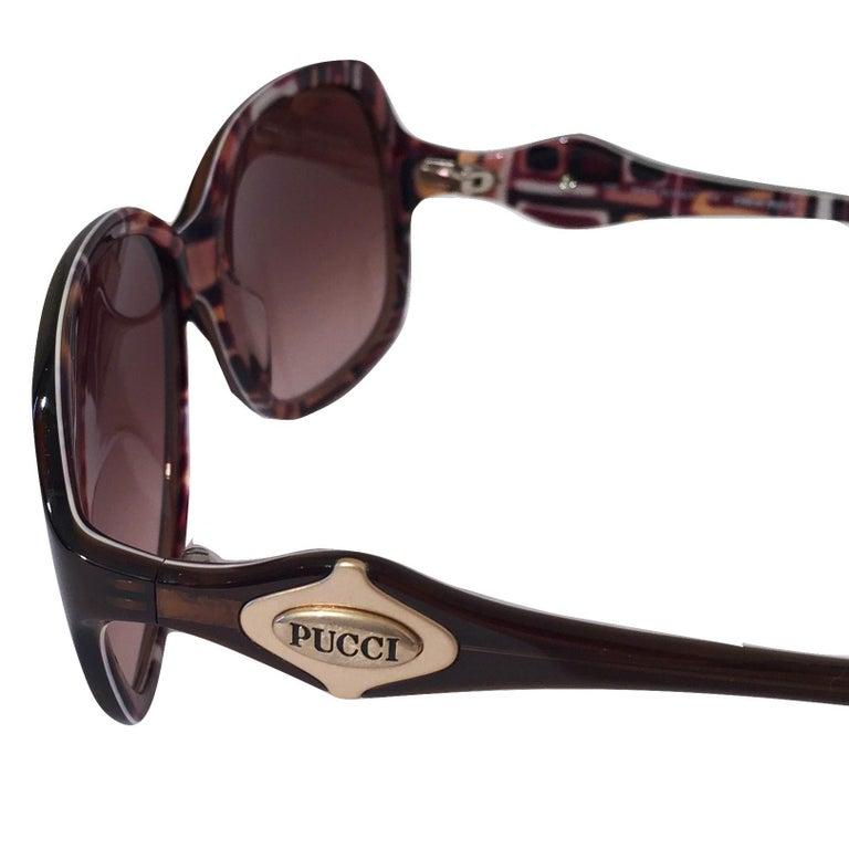 New Emilio Pucci Brown Logo Sunglasses With Case & Box For Sale 4