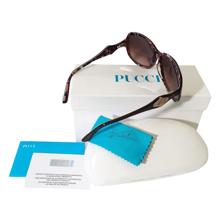 New Emilio Pucci Brown Logo Sunglasses With Case & Box For Sale 6