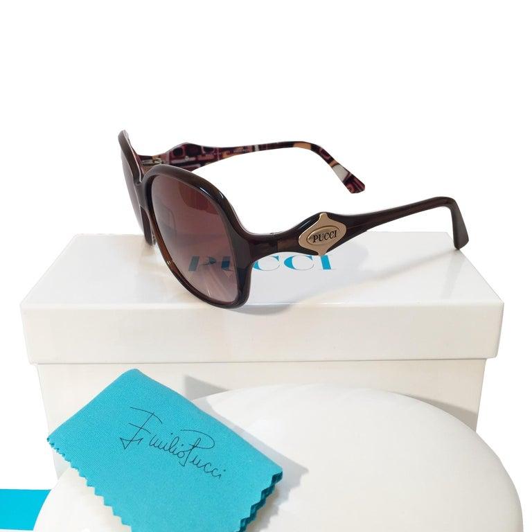 New Emilio Pucci Brown Logo Sunglasses With Case & Box For Sale 1