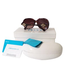 New Emilio Pucci Brown Logo Sunglasses With Case