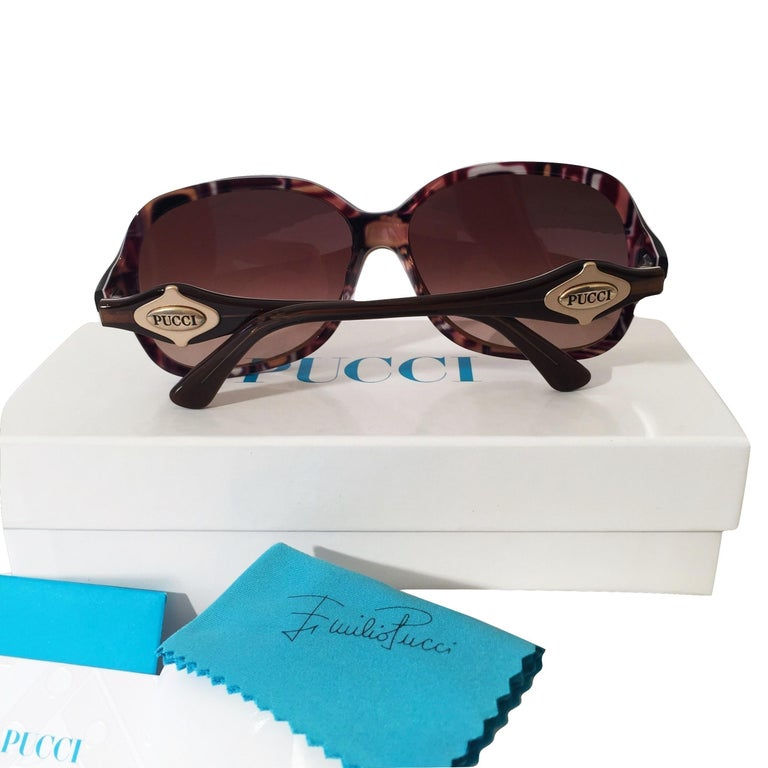 New Emilio Pucci Brown Logo Sunglasses With Case & Box For Sale 8