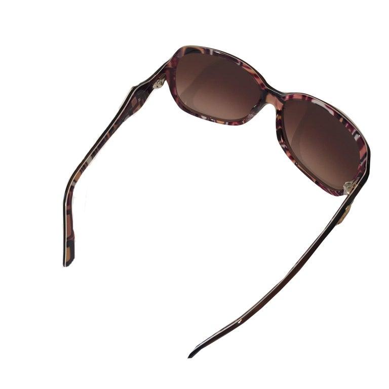 New Emilio Pucci Brown Logo Sunglasses With Case & Box For Sale 9