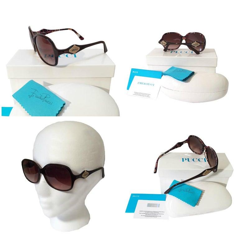Women's New Emilio Pucci Brown Logo Sunglasses With Case & Box For Sale