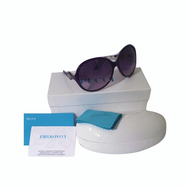 New Emilio Pucci Purple Logo Sunglasses  With Case & Box For Sale 1