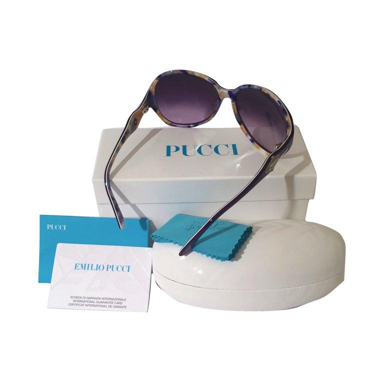 New Emilio Pucci Purple Logo Sunglasses  With Case & Box For Sale 4