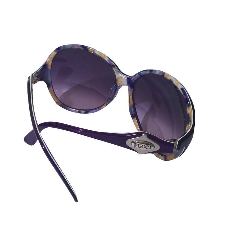New Emilio Pucci Purple Logo Sunglasses  With Case & Box For Sale 2