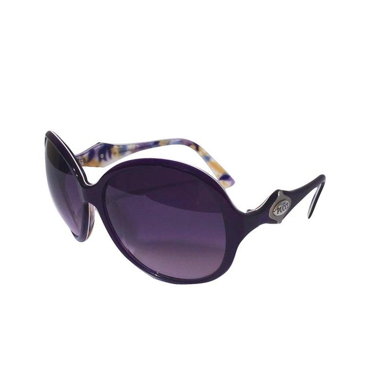 New Emilio Pucci Purple Logo Sunglasses  With Case & Box For Sale 7