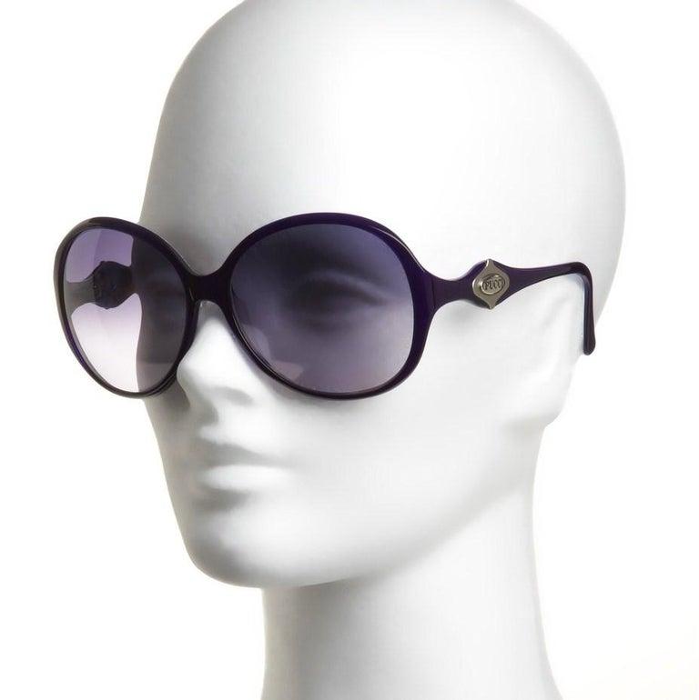 New Emilio Pucci Purple Logo Sunglasses  With Case & Box For Sale 8