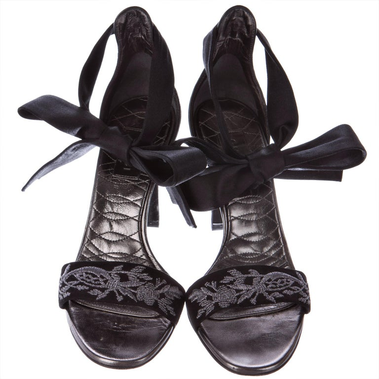 New Gucci Runway Suede Brocade Heels Sz 8.5 For Sale 3