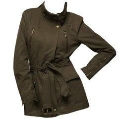 New Kenneth Cole Olive Twill Coat Jacket Trench Size: L