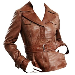 Kenneth Cole Leather Jacket Coat in Saddle Brown