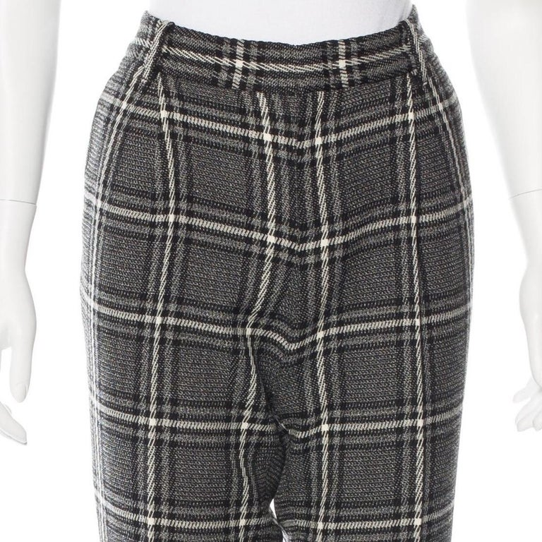 New Gucci Runway Wool Plaid Pants Slacks Sz 44 In New Condition For Sale In Leesburg, VA