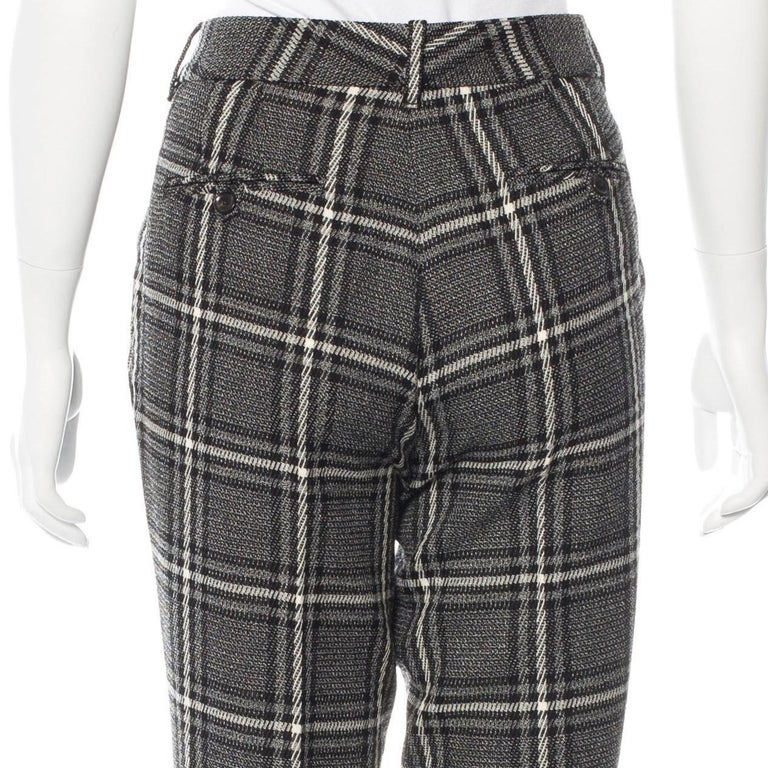 New Gucci Runway Wool Plaid Pants Slacks Sz 44 For Sale 2