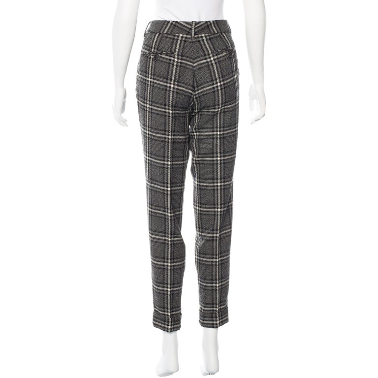 New Gucci Runway Wool Plaid Pants Slacks Sz 44 For Sale 3