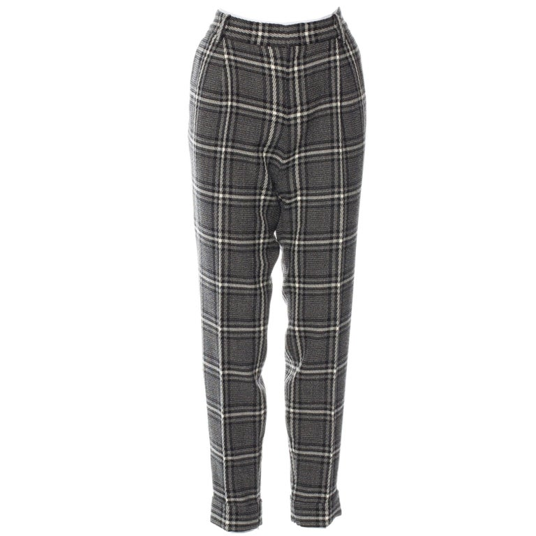 Black New Gucci Runway Wool Plaid Pants Slacks Sz 44 For Sale