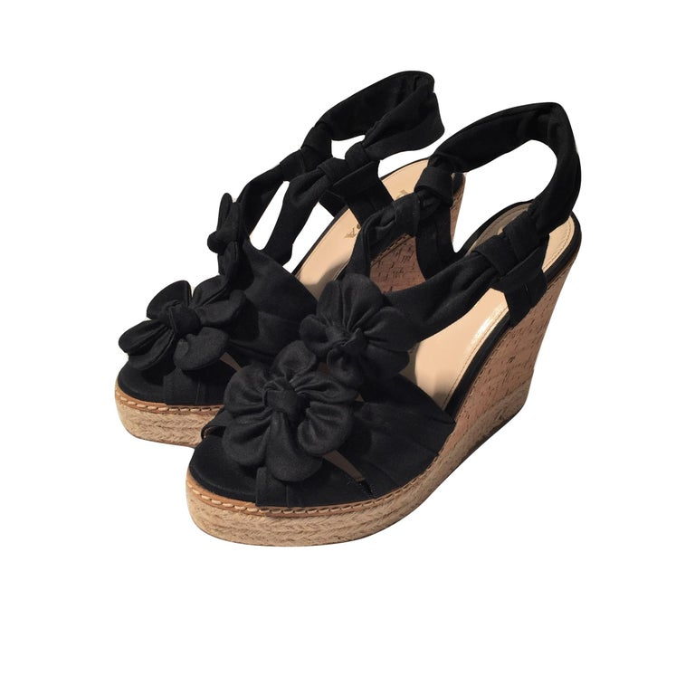 Women's Prada Platform Wedge Espadrille Heels  For Sale