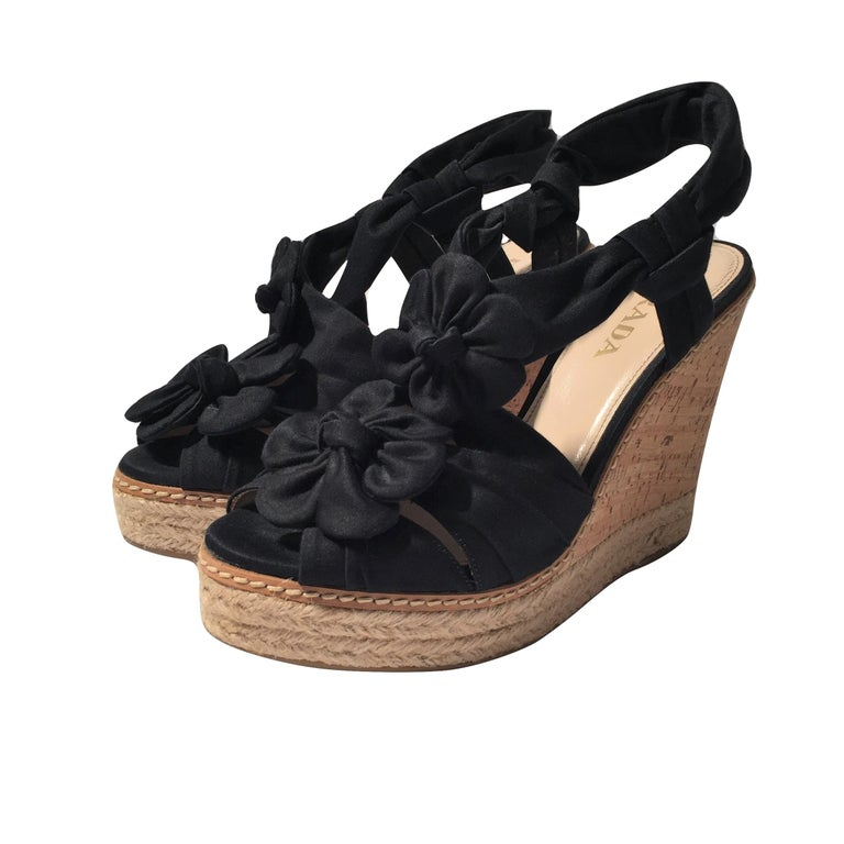 Prada Platform Wedge Espadrille Heels  For Sale
