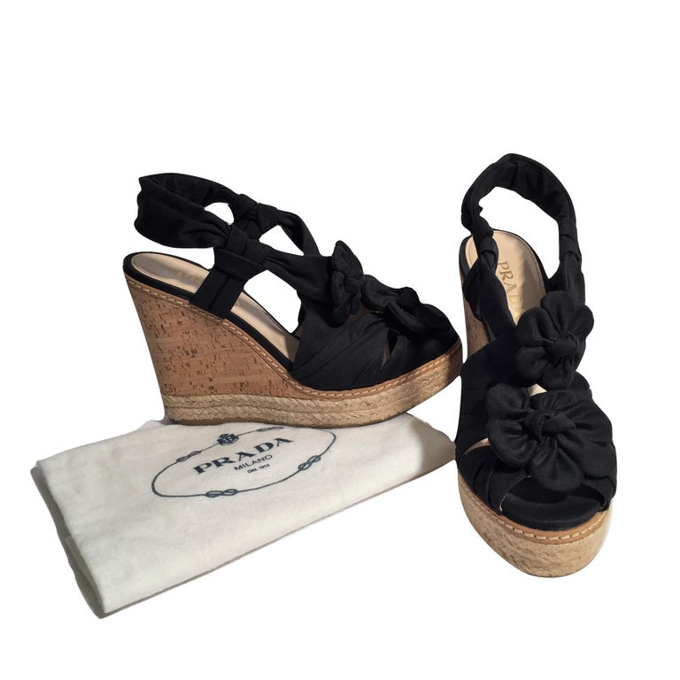 Prada Platform Wedge Espadrille Heels  For Sale 4