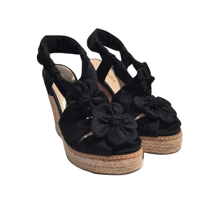 Prada Platform Wedge Espadrille Heels  For Sale 5