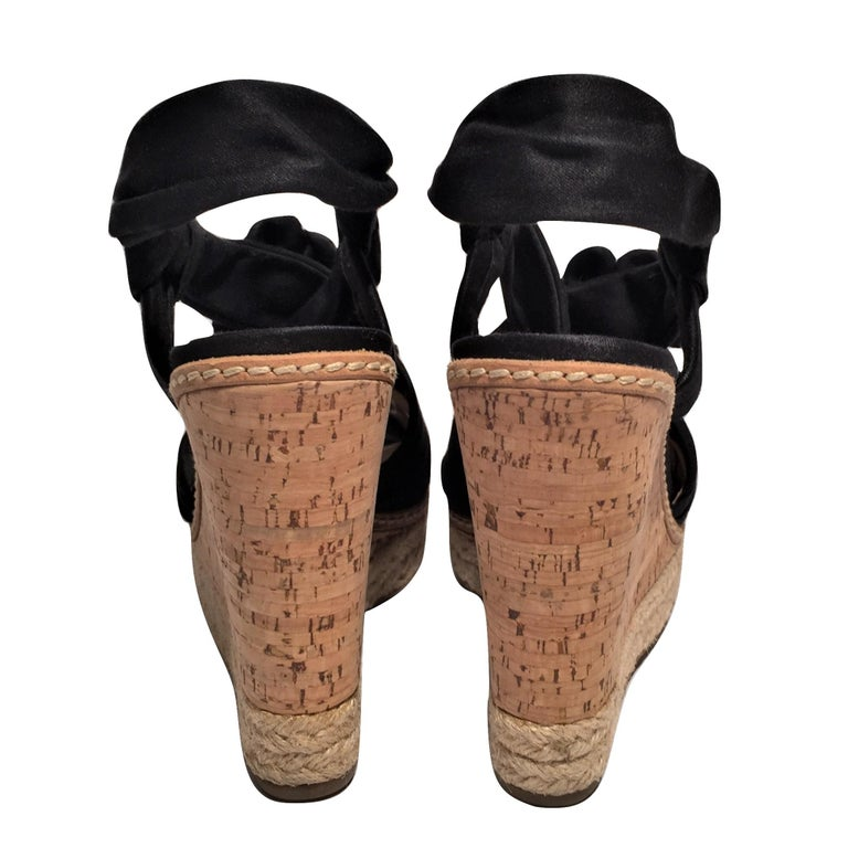 Prada Platform Wedge Espadrille Heels  For Sale 1