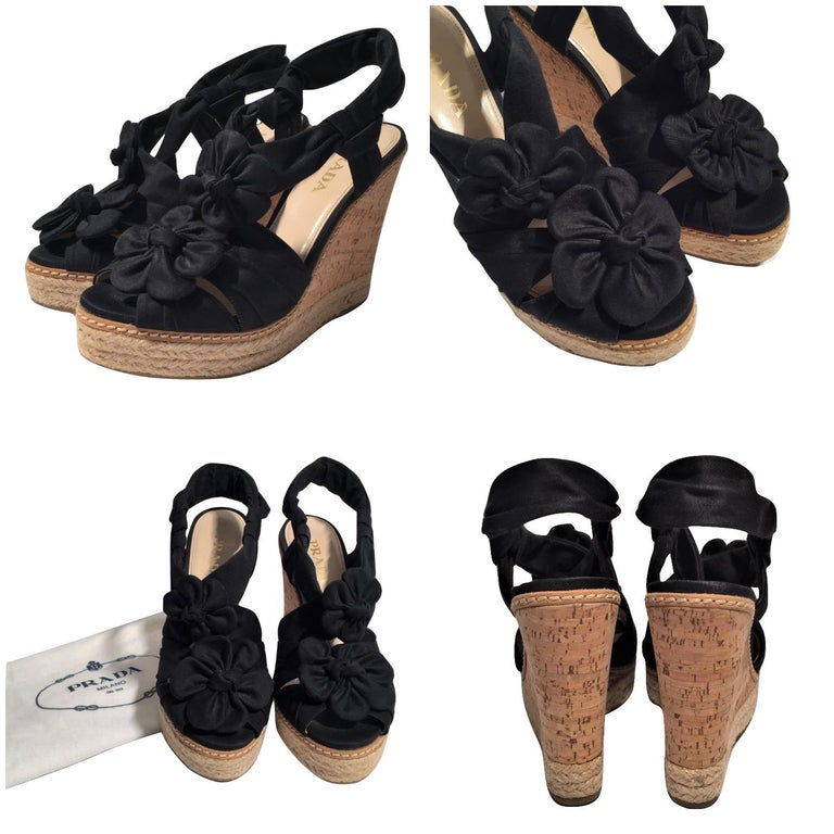 Black Prada Platform Wedge Espadrille Heels  For Sale