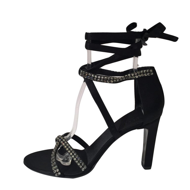 New Tom Ford For Gucci New Swarovski Crystal Satin Heels Sz 7 For Sale 8