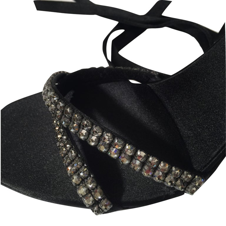New Tom Ford For Gucci Swarovski Crystal Satin Heels Sz 8.5 For Sale 1
