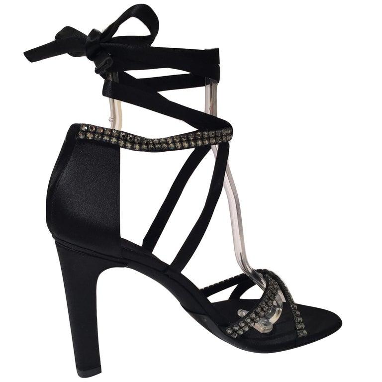 New Tom Ford For Gucci Swarovski Crystal Satin Heels Sz 8.5 For Sale 6