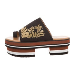 Clover Canyon New Leather Platform Sandals Geta Shoes