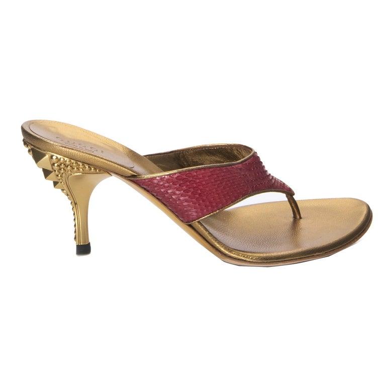 New Size 7.5 Gucci Runway Python Gold Heeled Mules