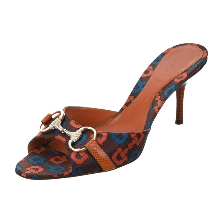 New Size 7 Gucci Horsebit Lizard Swarovski Crystal Mules Heels