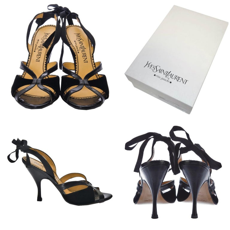 Tom Ford For YSL Heels Brand New * Stunning Black Leather & Velvet * Tom Ford's Final Years w/ YSL * Euro Size: 36.5  * Ribbon Can be Tied Around Ankle or Accented at Back * Leather Insole  * Velvet & Leather Toe  * 3.5