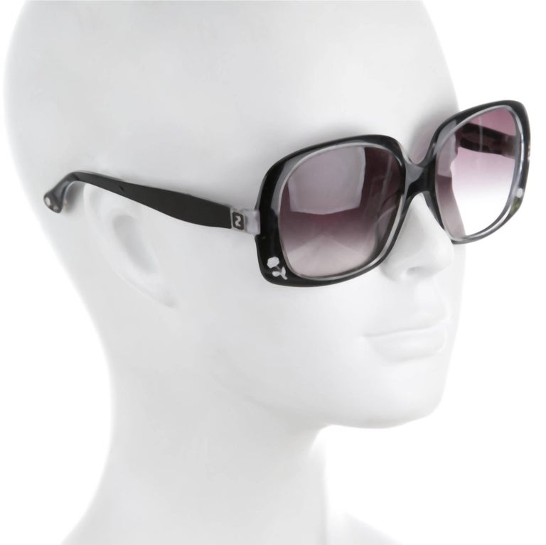 Fendi New Black with Rose Inlaid Sunglasses  In New Condition For Sale In Leesburg, VA