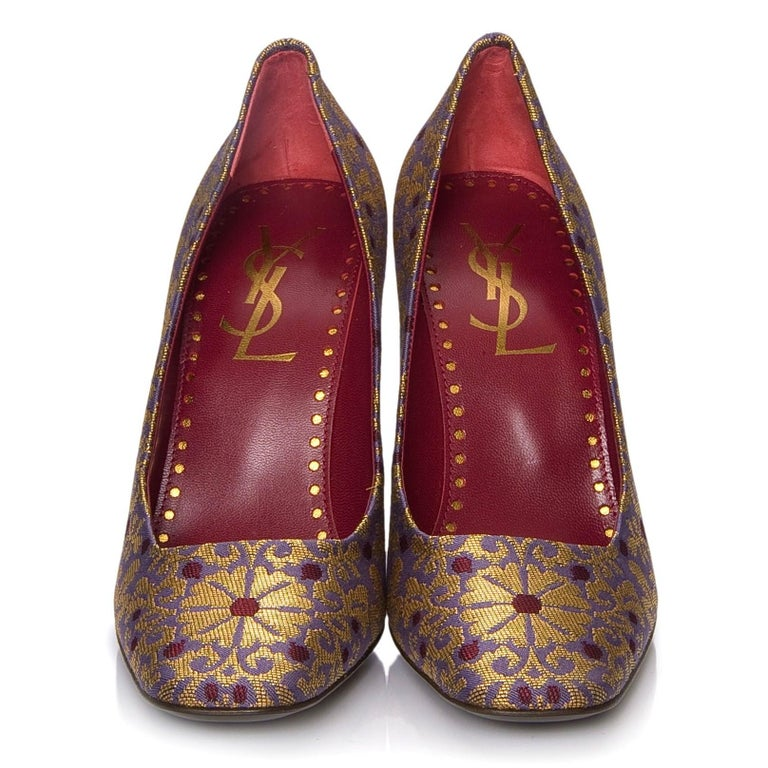 Brown New Tom Ford for Yves Saint Laurent YSL Brocade Heels Pumps Sz 37 For Sale