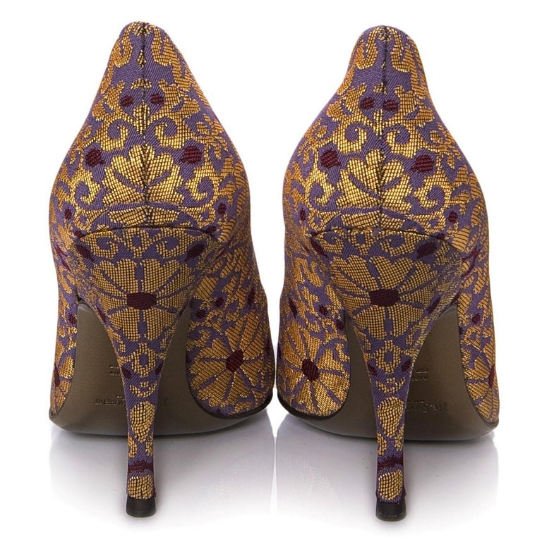 New Tom Ford for Yves Saint Laurent YSL Brocade Heels Pumps Sz 37 In New Condition For Sale In Leesburg, VA