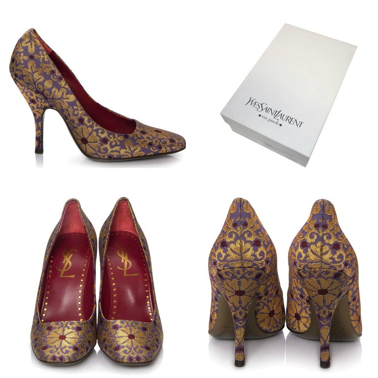 Tom Ford For YSL Heels Brand New * Stunning Brocade Heels * Tom Ford's Final Years w/ YSL * Red Interior * Purples and Golds * Leather Insole  * Pointed Toe  * 4