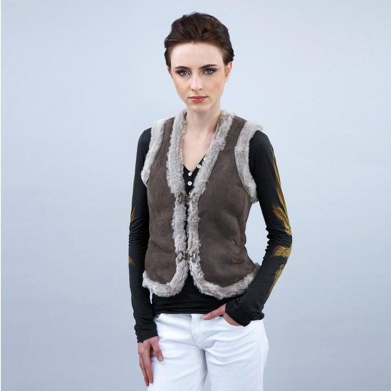 New Da-Nang Grey Shearling Vest  Sz S For Sale 2