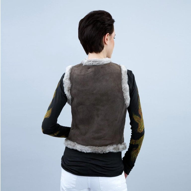 New Da-Nang Grey Shearling Vest  Sz S For Sale 3