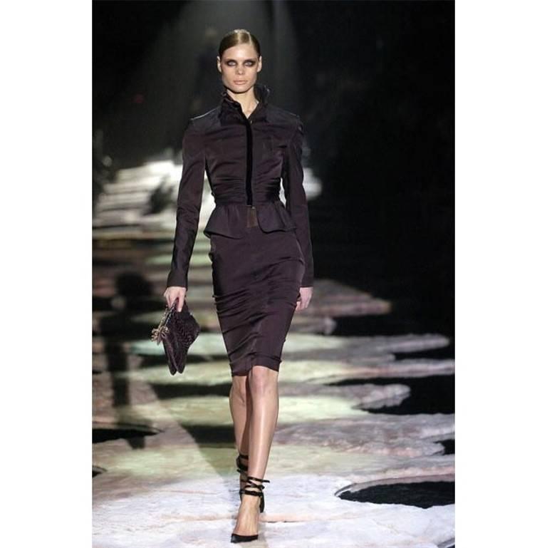 New Tom Ford For Gucci Black Velvet Satin Final Collection Heels Sz 10 For Sale 2