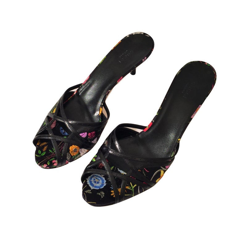 Women's New Gucci Leather and Satin Flora Heels Slides Mules Sz 9.5 For Sale