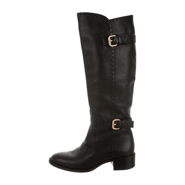 Fendi Pebbled Leather Selleria Riding Walking Boots