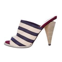 New Fendi Famous 2012 Runway Ad Heels Mules Sz 38