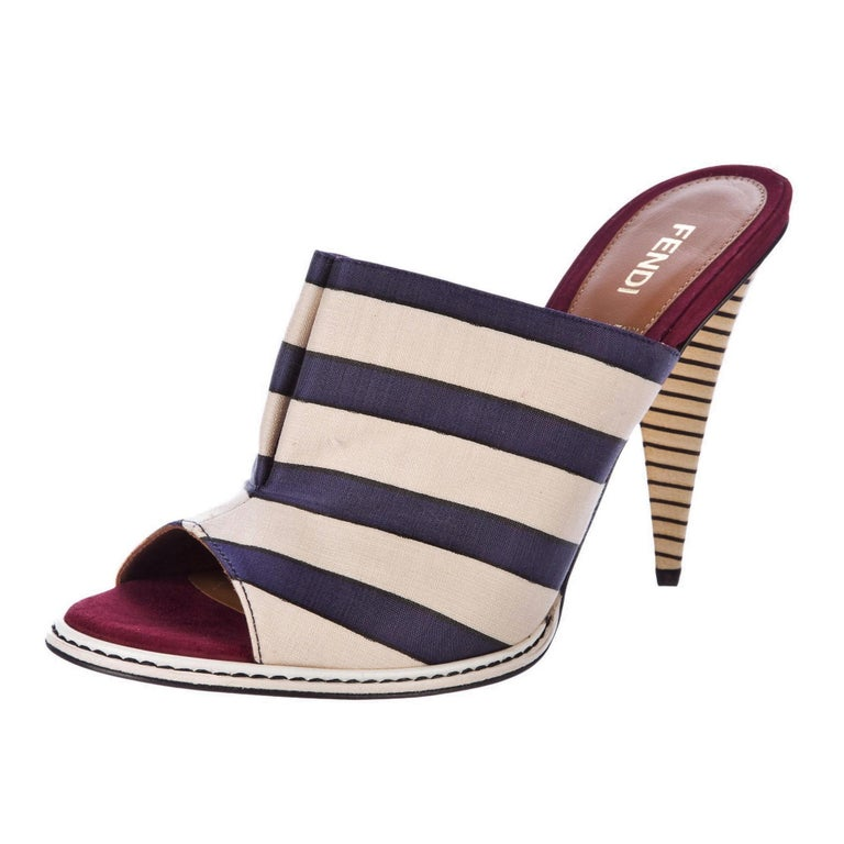 Fendi Nautical Heels Brand New * Famous Ad Runway Mules * Stunning in Navy, Cream & Deep Red * Navy Silk & Cream Canvas   * Red Suede & Leather Footbed * Unique Block Heel in Navy & Cream * Gold Sole * 4.25