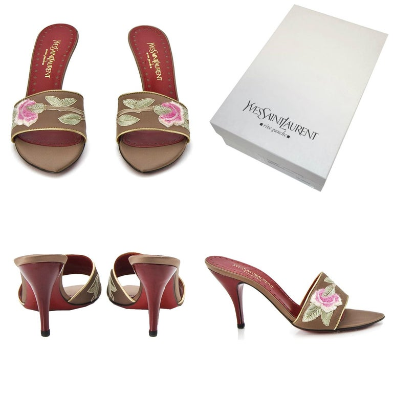 Brown New Tom Ford for Yves Saint Laurent YSL Lotus Heels Final Collection 2004 Sz 38 For Sale