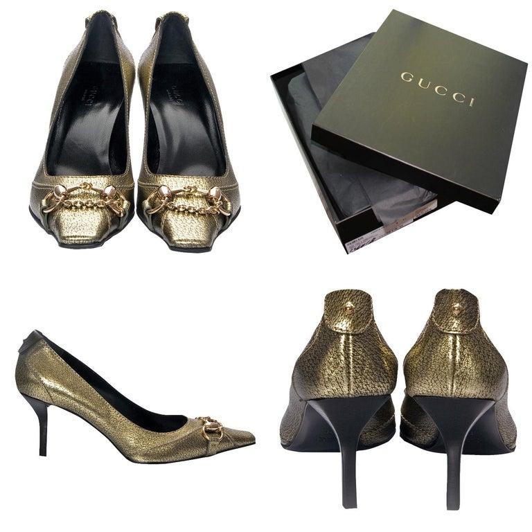Gucci Horsebit Pumps Brand New * Square Toe Pumps * Gold Horsebit Toe * Gold Leather * Leather Footbed * Leather Heal * 3
