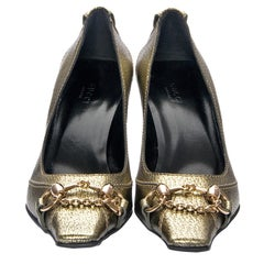 New Gucci Gold Horsebit Pumps Runway Heels Size 36.5