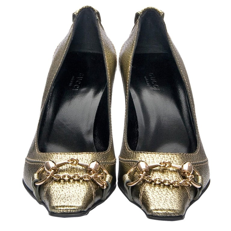 Gucci Gold Horsebit Pumps Runway Heels