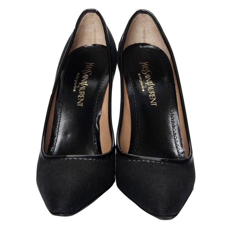 Black New Vintage Tom Ford for Yves Saint Laurent YSL Linen Patent Heels Sz 37 For Sale